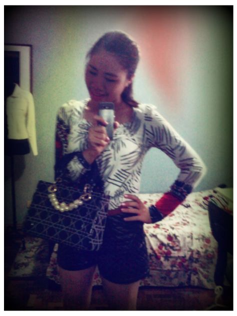 Christian Dior inspired Bag from Malaysia. Top is from FashionOne HongKong. Chanel inspired shorts from Kirin Kirin