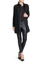 Mango, Leather Trimming Wool Blended Coat, Php 6,450